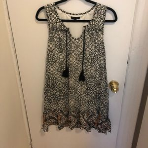Patterned Shift Dress with Tassels and Pockets